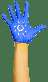 cambridge montessori global hand blue